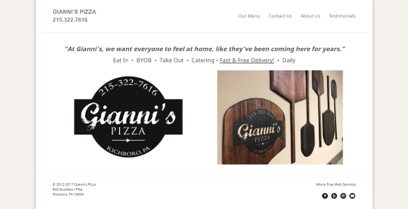 GIANNI'S PIZZA | Best Pizza in Richboro, PA 215.322.7616